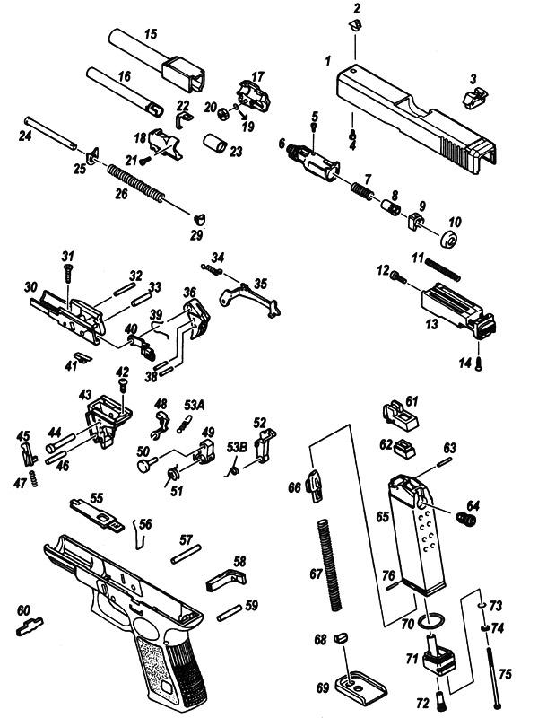 Схема пистолета KJWorks GLOCK