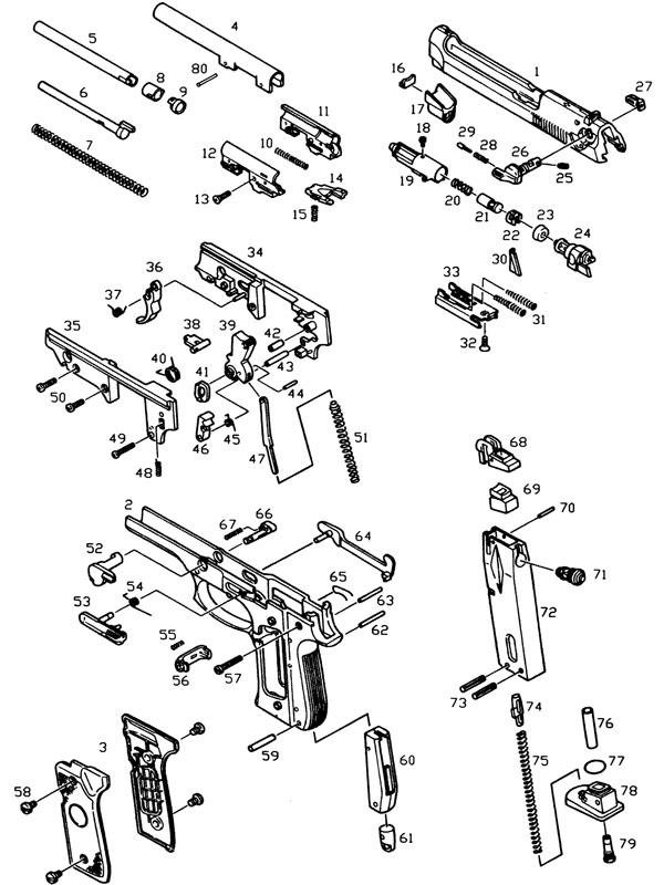 Схема пистолета WE M1911A1 CO2