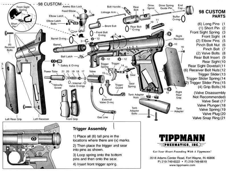 Схема маркера Tippman 98
